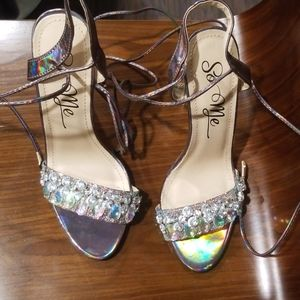 Metallic Sandals with Crystals (Lace-up)